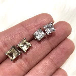 2 Pairs of Square Cut Stud Earrings